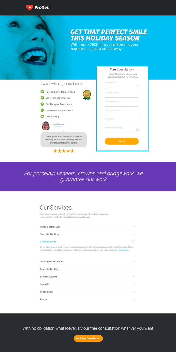 Dentist Booking Landing Page