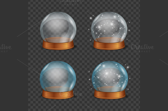 Empty Magic Crystal Ball Set Vector