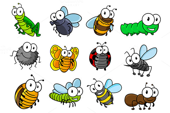 Colorful Set Of Cartoon Insects Char