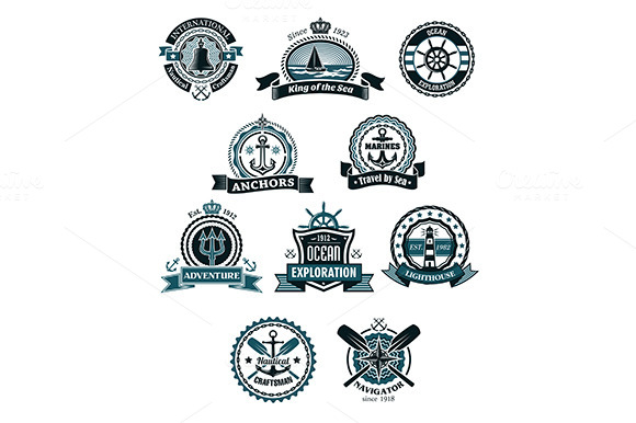 Marine Icons And Badges With Nautica