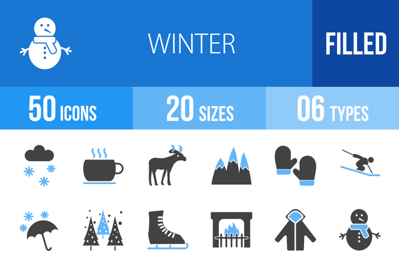 50 Winter Blue Black Icons