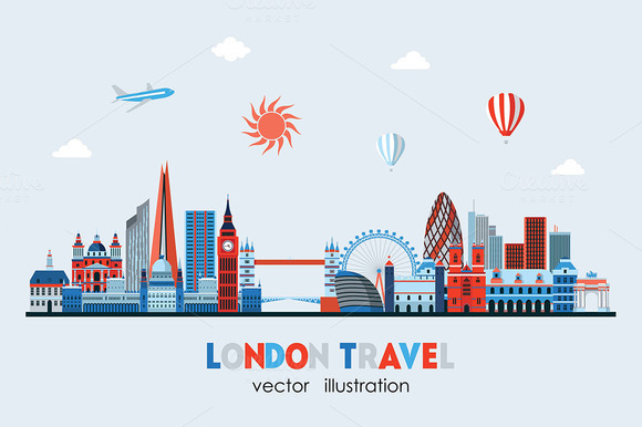 London Colorful Detailed Skyline
