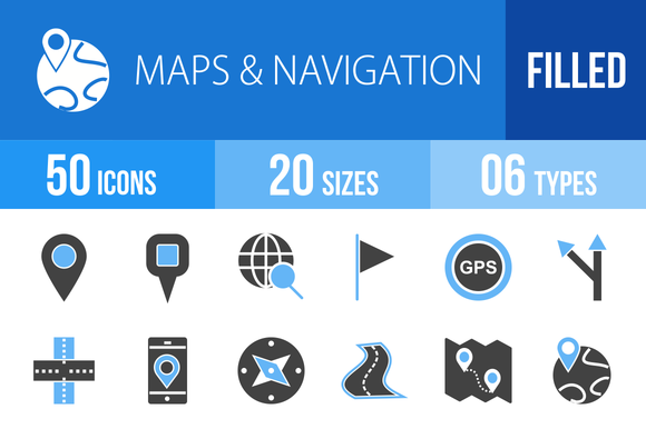 50 Maps Blue Black Icons