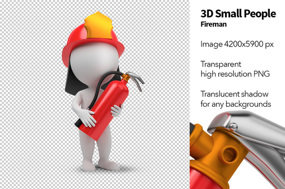 3D Small People Fireman