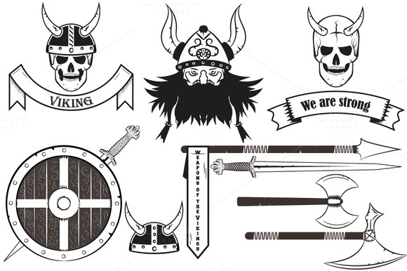 stock graphic viking set skull horned etc. Black Bedroom Furniture Sets. Home Design Ideas