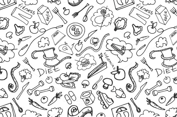 Doodle Pattern Of Diet