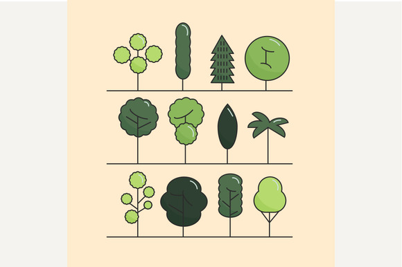 Modern Flat Trees Set Vector Trees
