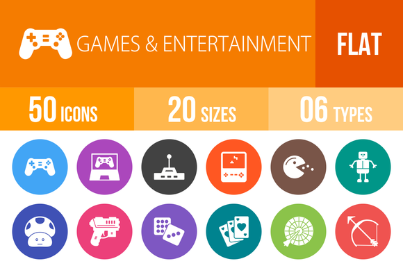 50 Games Flat Round Icons