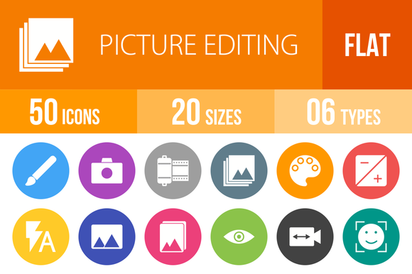 50 Picture Editing Flat Round Icons
