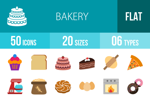 50 Bakery Flat Multicolor Icons