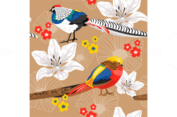 Seamless Background With Pheasants