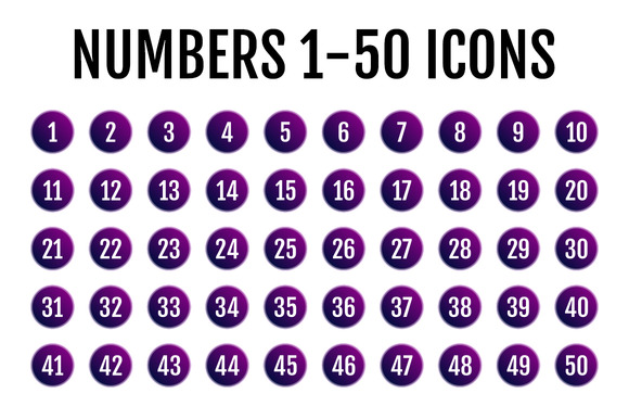 Numbers 1-50 Icons *$5 SALE*