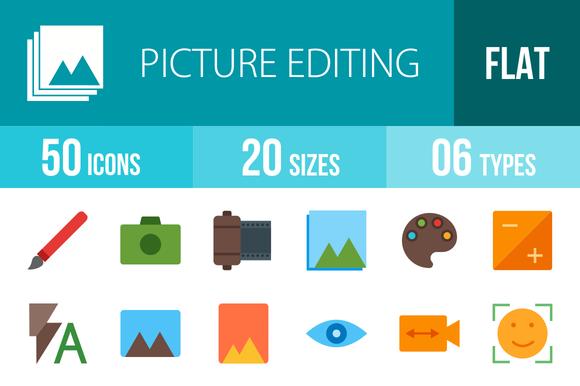 50 Picture Edit Flat MulticolorIcons