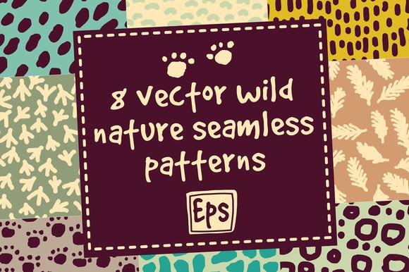 8 Vector Wild Nature Patterns Set
