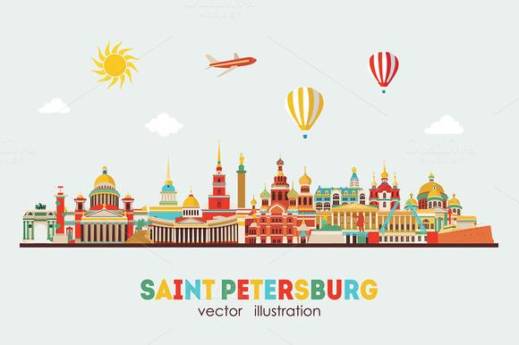 Saint Petersburg Detailed Skyline