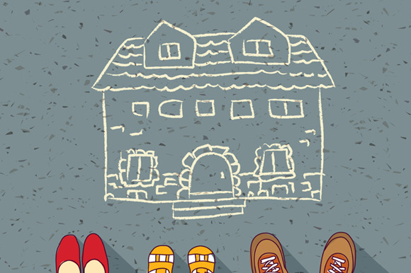 Vector Homeless Family Dreaming