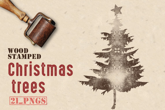 Wood Stamped Christmas Trees
