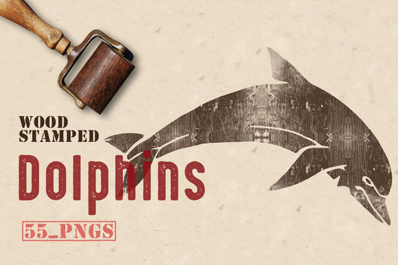 Wood Stamped Dolphins