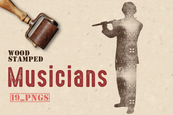 Wood Stamped Musicians