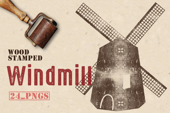 Wood Stamped Windmill