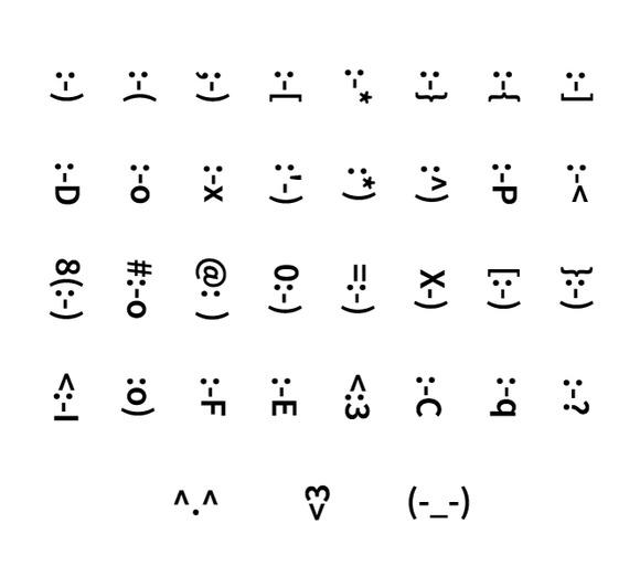 Set Of Typography Smiley Icons