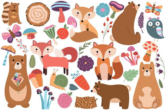 Woodland Animals Floral Vector PNG