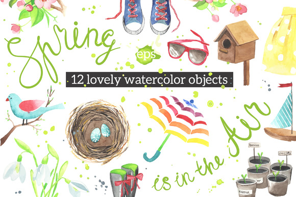 Lovely Spring Watercolor Objects
