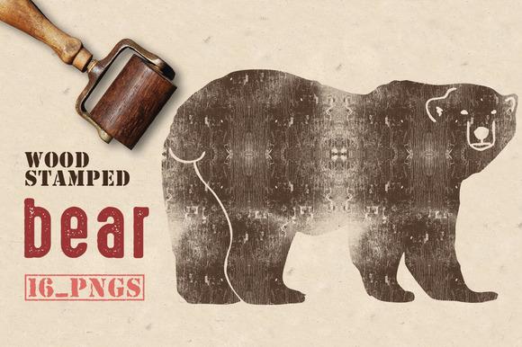 Wood Stamped Bear