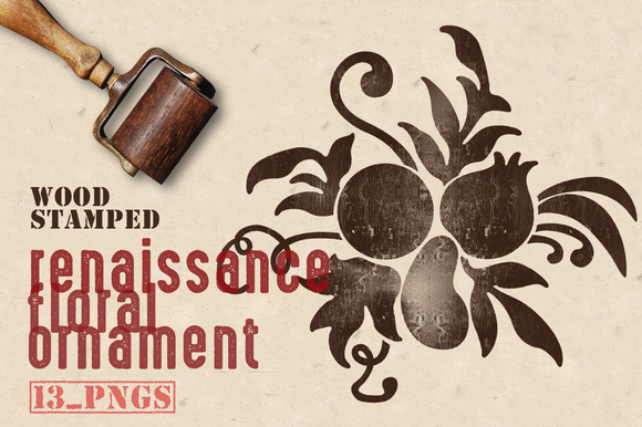Wood Stamped Renaissance Florals
