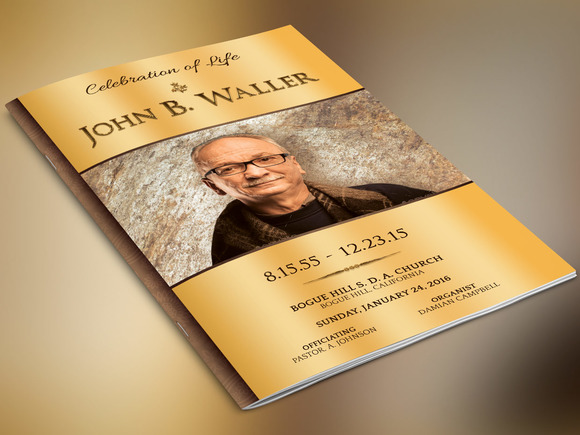 Solid Gold Funeral Program Photoshop
