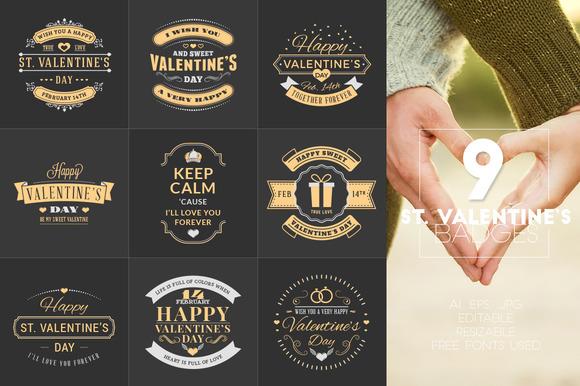 Set Of 9 St Valentine's Badges