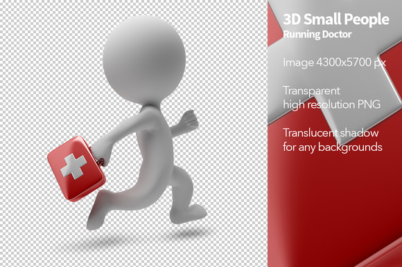 3D Small People Running Doctor