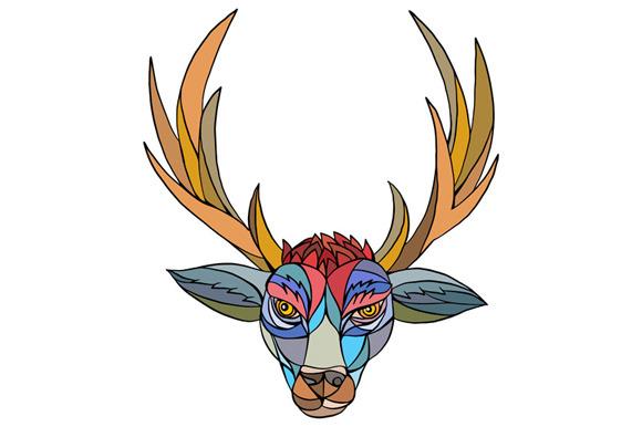 Red Stag Deer Head Mosaic