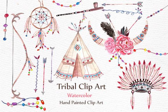 Watercolor Tribal Clip Art Set