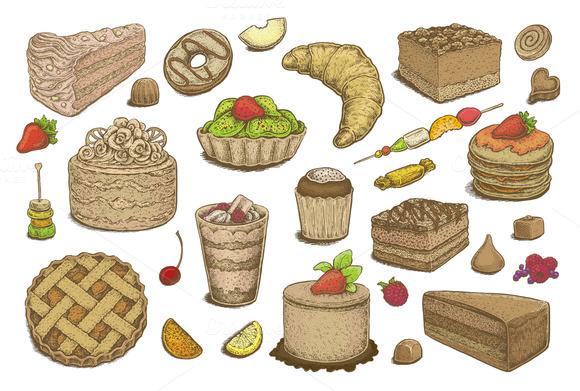 Hand Drawn Desserts Vector Set
