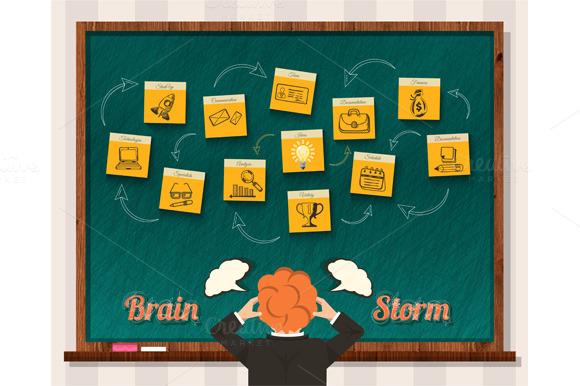 Brainstorm Man And Blackboard