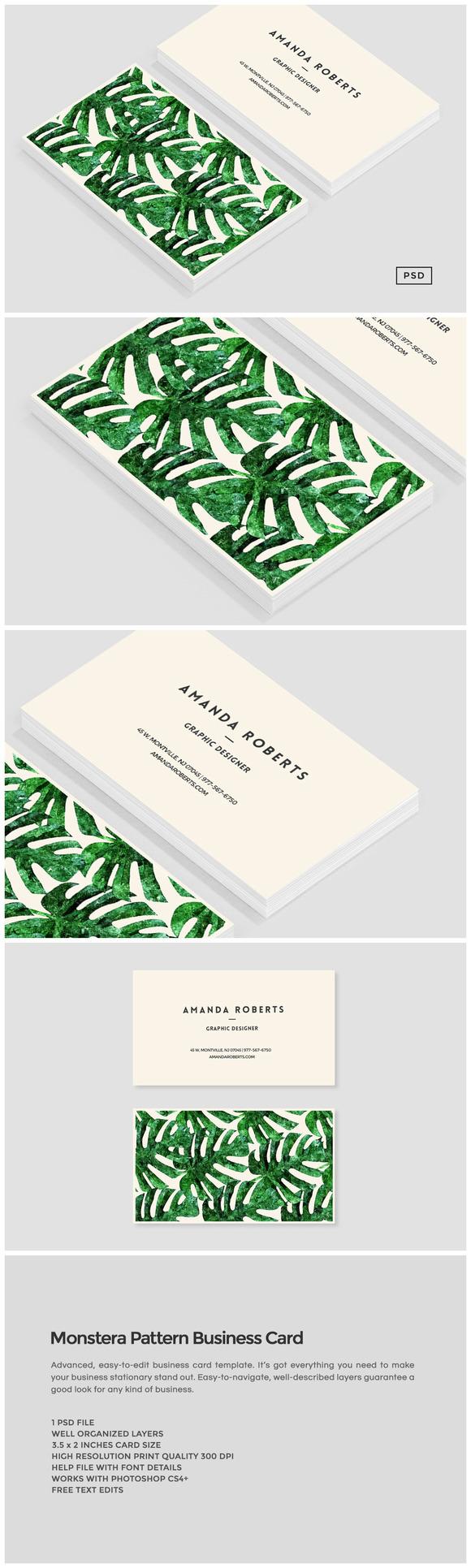 Monstera Pattern Business Card