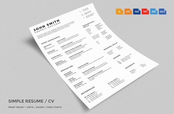 Simple Resume CV With Business Card