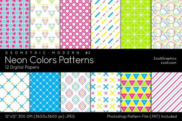 Neon Colors Digital Papers