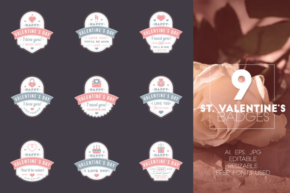 Set Of 9 St Valentine's Badges