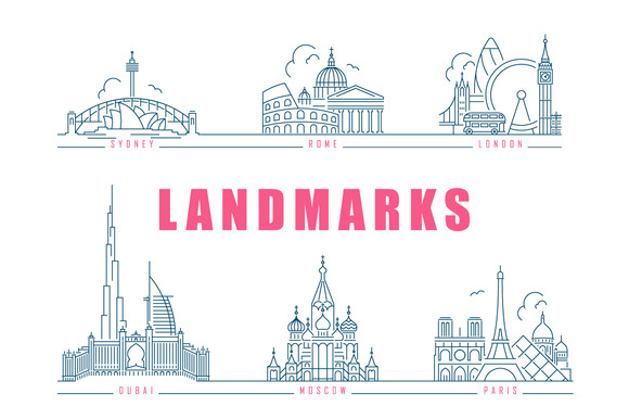 Famous Landmarks Line Style Icons
