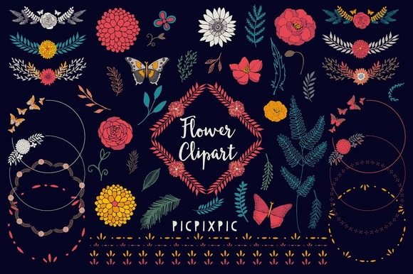 Flower Garden Vector Clipart Set