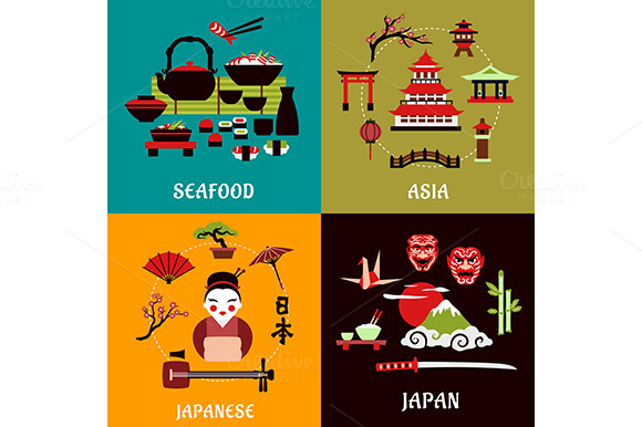 Japanese Culture Travel Flat Icons