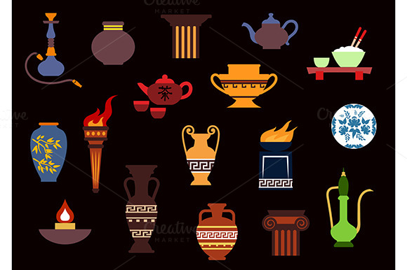 Container And Kitchenware Flat Icons