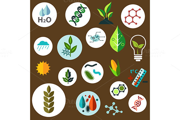 Science And Genetics Flat Icons