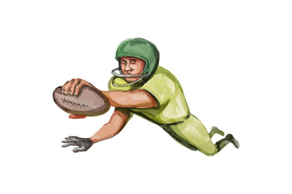 American Football Player Touchdown