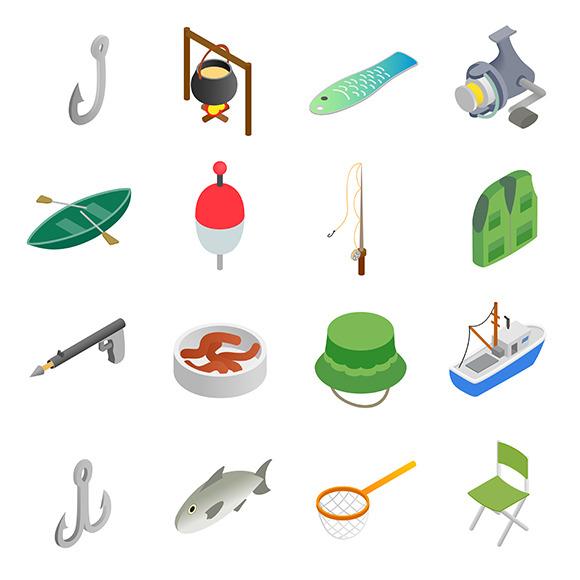 Fishing Isometric 3D Icons Set