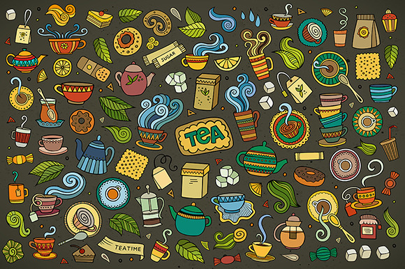 Tea Objects Symbols Set