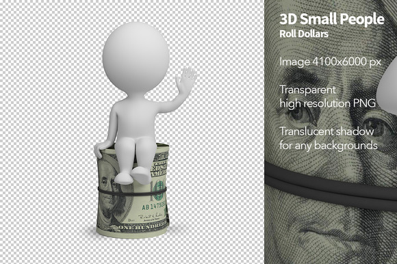 3D Small People Roll Dollars