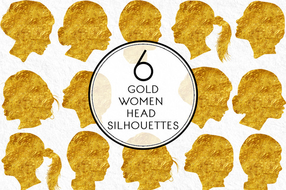 Gold Women Head Silhouettes